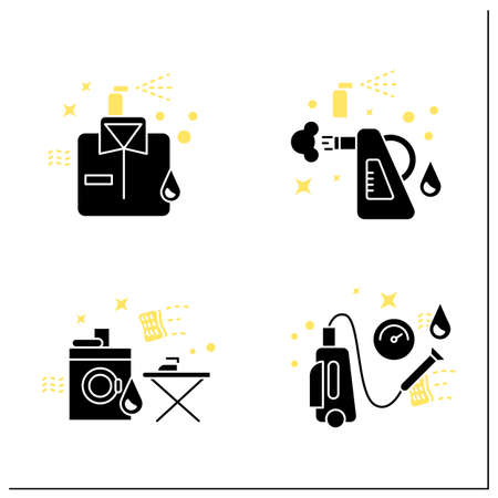 Cleaning services glyph icons set