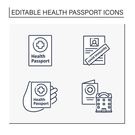 Health passport line icons set