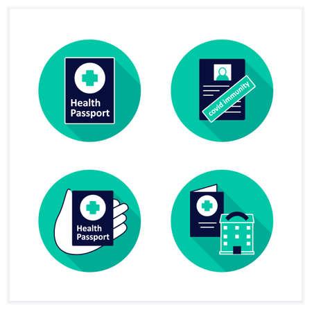Health passport flat icons set Vektoros illusztráció
