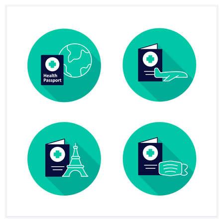 Health passport flat icons set