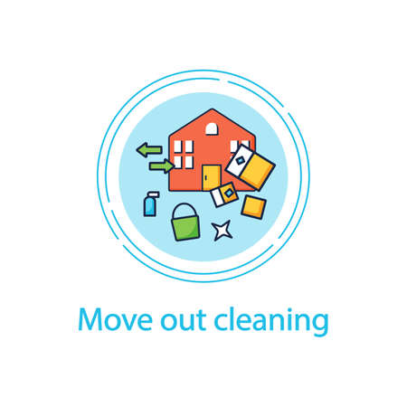 Move out cleaning concept line icon
