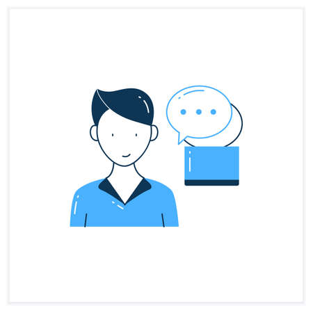 Instant messaging flat icon. Momentary messaging on social networks. Contactless communication. Information overload concept. Vector illustration