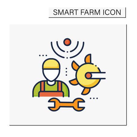 Machinery technician color icon Vector Illustration