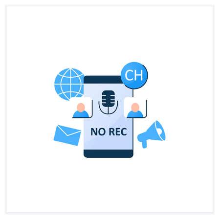 Unrecorded conversation flat icon