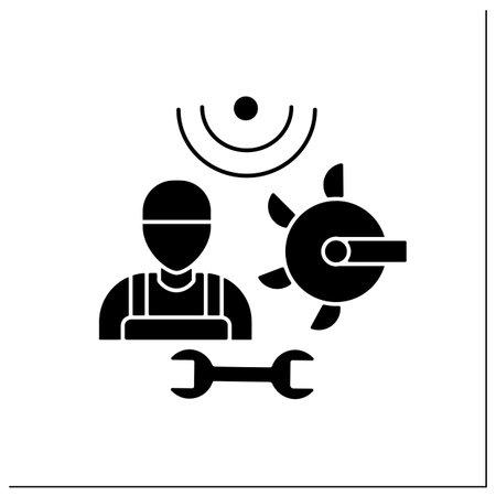 Machinery technician glyph icon