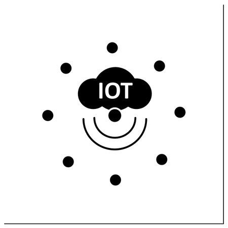 IoT sensors glyph icon