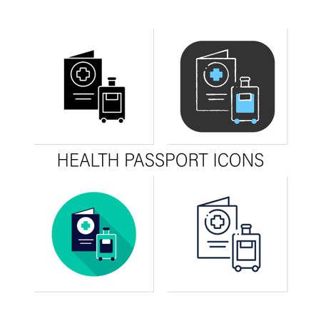 Health passport icons set Vektoros illusztráció