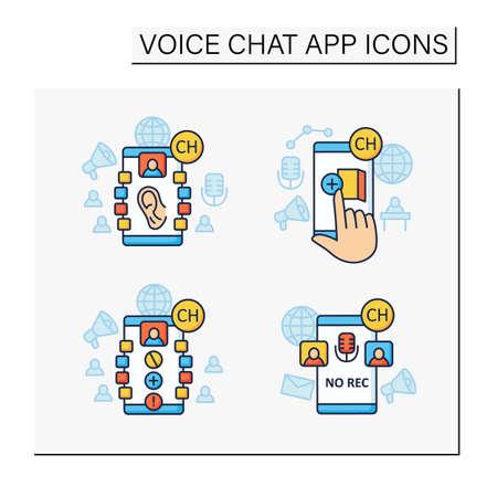 Drop in audio app color icons set