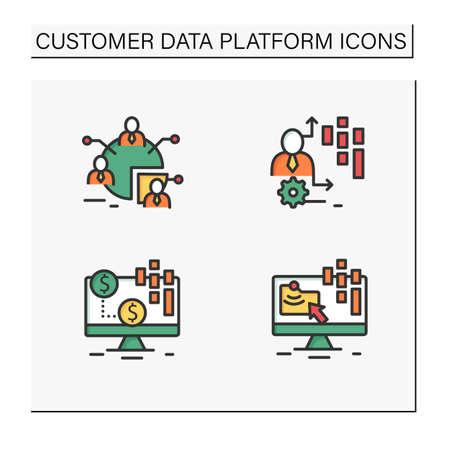 Customer data platform color icons set