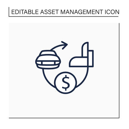 Assets expected life cycle line icon 向量圖像