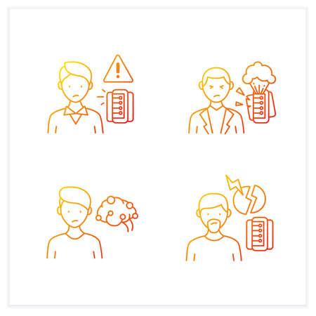 Information overload gradient icons set