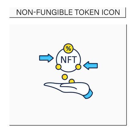 Transaction fees color icon Vektoros illusztráció