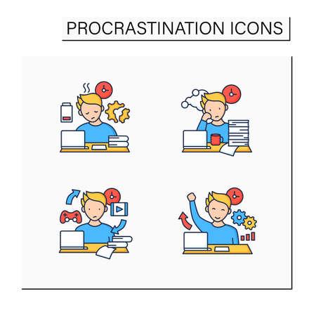 Procrastination color icons set