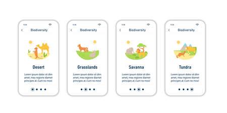 Biodiversity onboarding mobile app screens