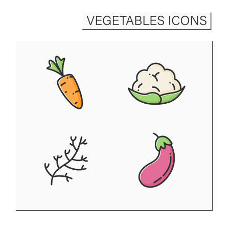 Vegetables color icons set
