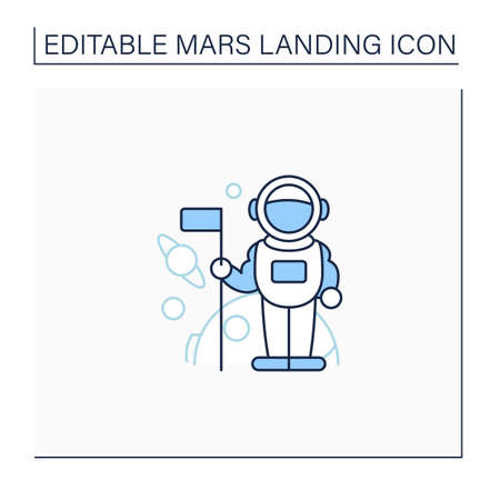 Astronaut line icon Vektoros illusztráció