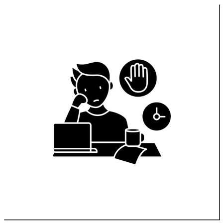 Stop procrastinating glyph icon