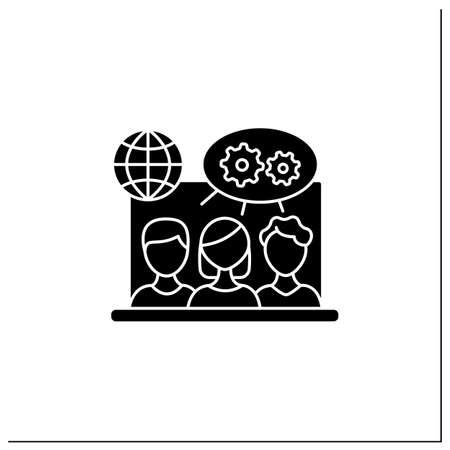 Projects collaborating glyph icon Ilustración de vector