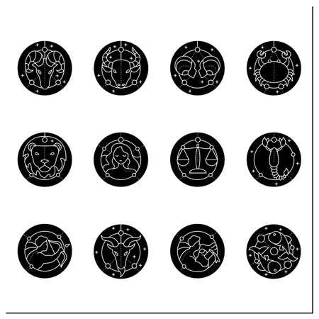 Zodiac glyph icons set Векторная Иллюстрация