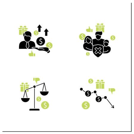 Universal basic income glyph icons set Vector Illustration
