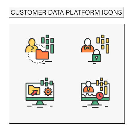 Customer data platform color icons set Vektorové ilustrace