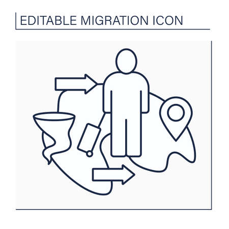Climate migration line icon Vector Illustration