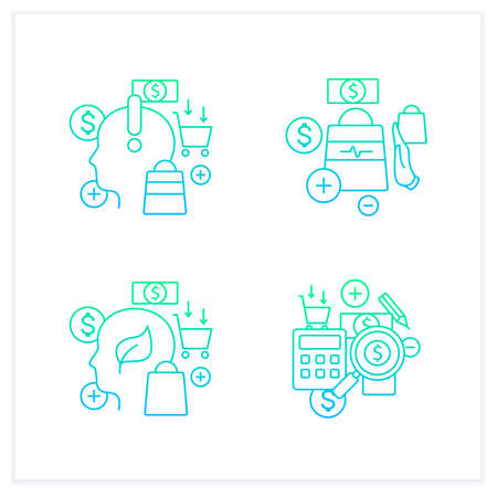Mindful spendings chalk icons set