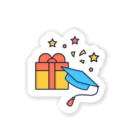 Graduation gift sticker icon