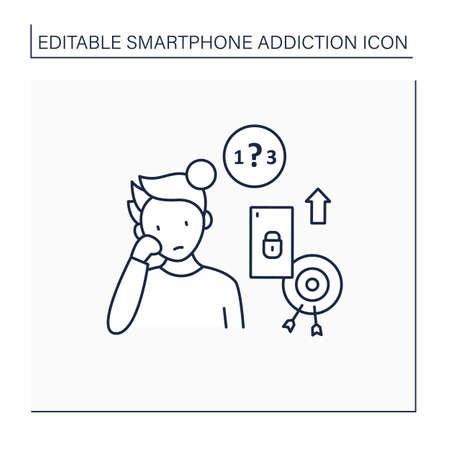 Smartphone addiction line icon