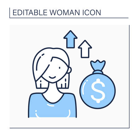 Venture female capitalist line icon