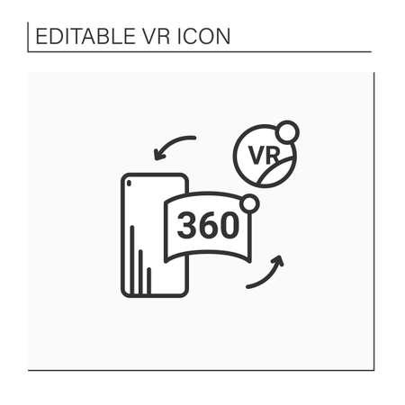Vr in cell phone line icon Vektoros illusztráció