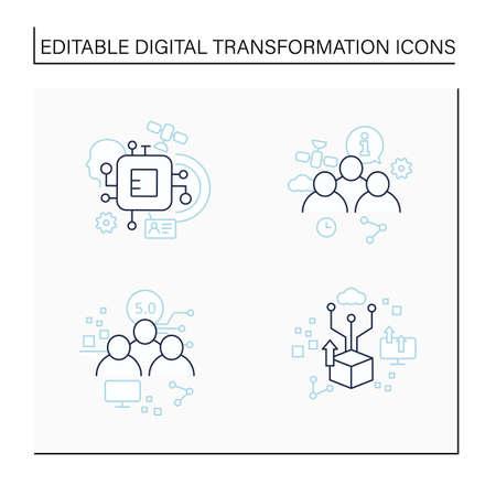 Digital transformation line icons set