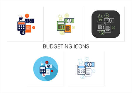 Track spending icons set Vetores