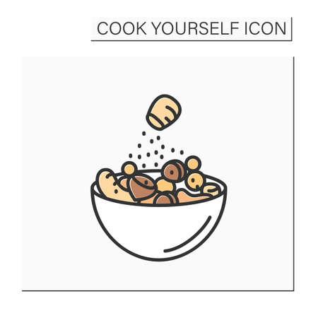 Spiced nuts color icon Vector Illustratie