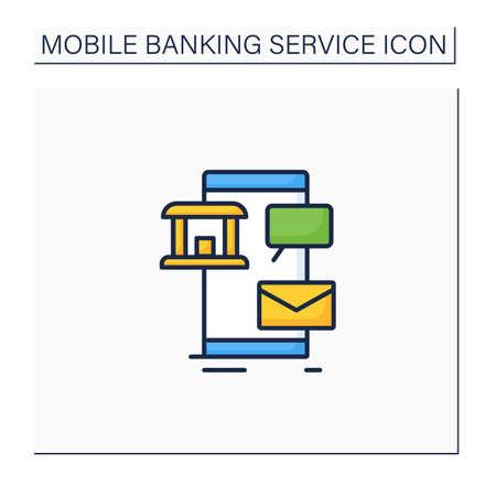 Sms banking color icon Vektoros illusztráció