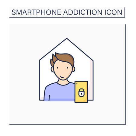 Smartphone addiction color icon