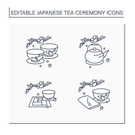 Japanese tea ceremony line icons set Vektorové ilustrace