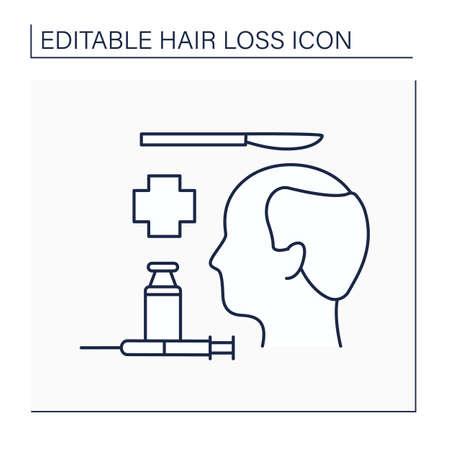 Hair loss line icon