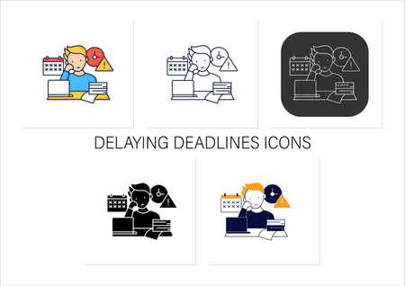 Delaying deadlines icons set