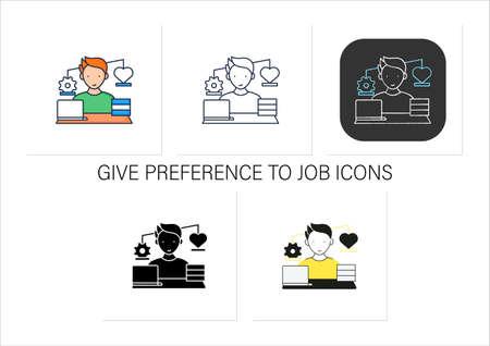 Workaholic icons set