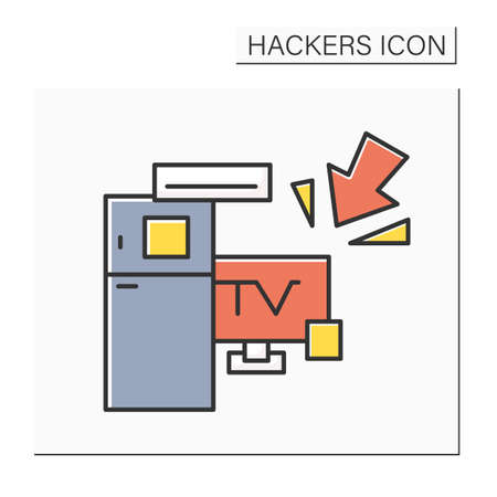 Smart devices hacking color icon