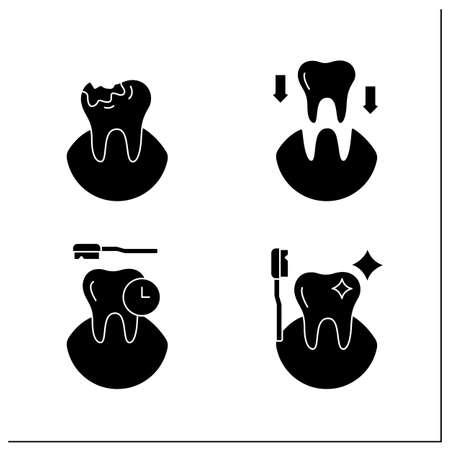 Dentist glyph icons set Illustration