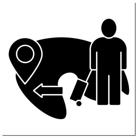 Emigration glyph icon Illustration