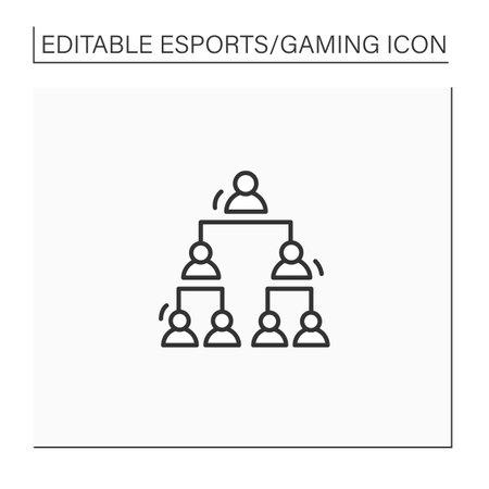 Double elimination tournament line icon