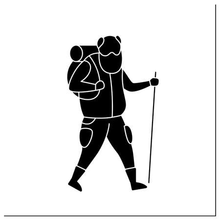 Hiking glyph icon