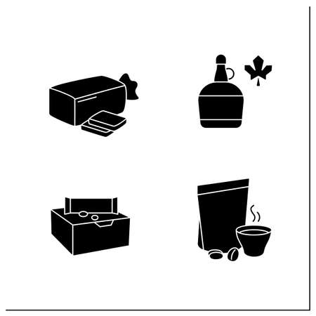 Packing foods glyph icons set