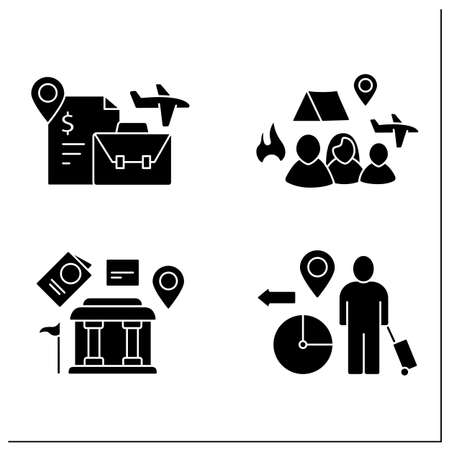 Migration glyph icons set