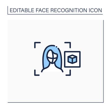 3d recognition line icon Illustration