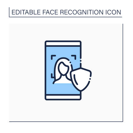 Face scan protection line icon Illustration