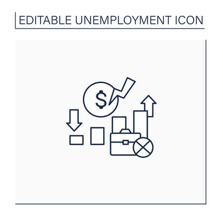 Unemployment rate line icon
